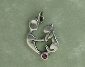 Mother of Cats fine silver red ruby sapphire pendant charm DTPD PMC