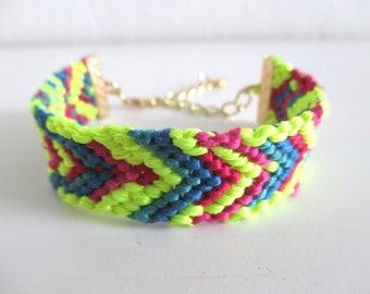 Surfer Bracelet, Neon Friendship Bracelet, Beach Bracelet, Woven Bracelet, Cotton Bracelet, hand made bracelet, stacking bracelet, arm candy
