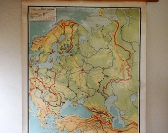 vintage wall chart, Dutch educational poster with map of Eastern Europe