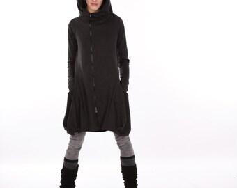 Gray Winter Hoodie, Hooded Coat, Asymmetric Jacket, Winter Jacket, Gray Jacket, Gray Hoodie, Womens Hoodie,  Warm Hoodie, Asymmetric Hoodie