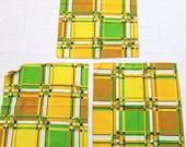 3 Geometric Napkins Green Brown Yellow Mid Century