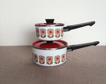 Mid Century Style Enamel Pots, Set of 2