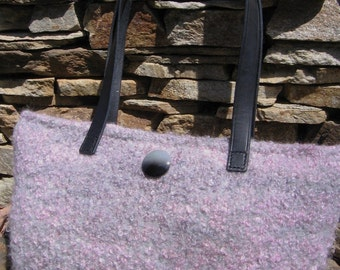 Pink Boucle With Gray Hand Knitted Felted Purse Custom Lined