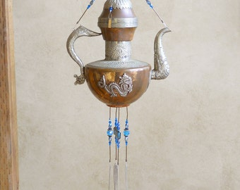 ASIAN DRAGON--Spectacular Vintage Teapot Upcycled into a Windchime