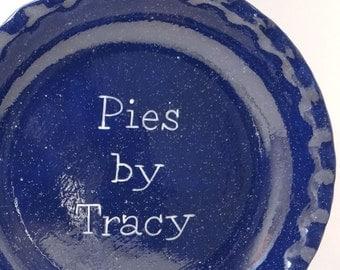 Blue Enamelware Pie Dish - Personalized Pie Plate - Navy Blue Pie Dish - Vintage Look Pie Plate - Enamelware Baking Dish - Ceramic Bakeware