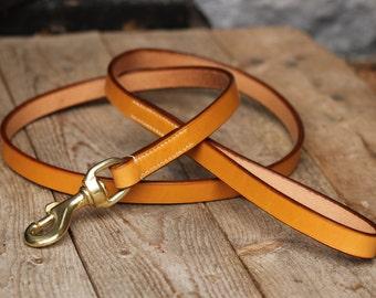 Plain leather dog leash 4 feet lead - Hand-stitched & Custom made