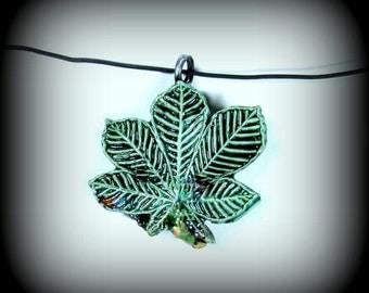 Large clay bead, humming bird bead,  green bead, Leaf bead   # 51