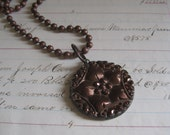 Bronze Button Necklace Black Glass Steel Cut Necklace Recycled Jewelry