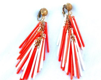 Gogo Dance Orange and White Sticks Long Super Swing Fringe Dangle Tassels Earrings Retro 1960s Jewelry