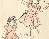 Vintage Advance 4952 Toddlers Girls Princess Seam Dress with Front Bolero Yoke Sewing Pattern Size 3