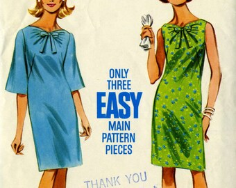 Vintage 60s Butterick 4326 Misses Shift Dress with Neckline Gathers Sewing Pattern Size 12 Bust 32