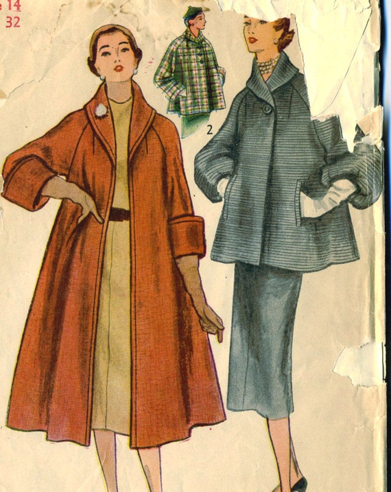 Vintage 50s Simplicity 8449 Uncut Misses Swing Car Coat Or