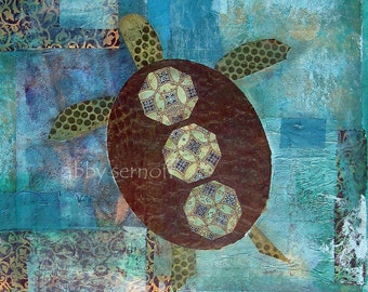 Sea Turtle Fine Art Print of Original Mixed Media Collage