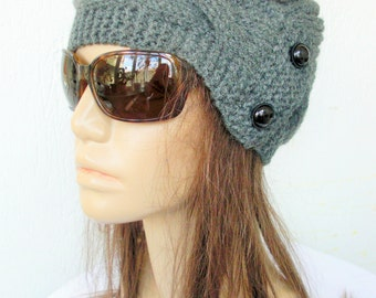 Womens Winter Hat Hand Knit  Hat Women  hat  , Winter Hat , Women Fashion  Cloche hat  in Charcoal Gray   Winter Accessories, Gift for her,