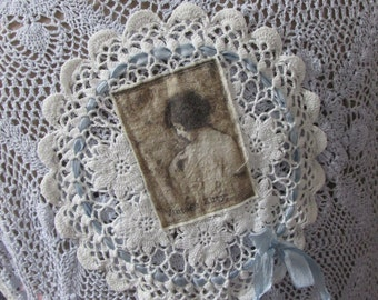 RESERVED for LYN.. Vintage Kitty.. hand dyed crochet.. pale sky blue.. satin ribbon roses.  shabby chic,  one of a kind.. romantic... lge-xl