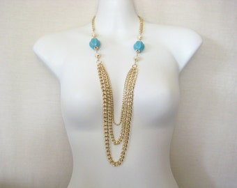Long Layer Chain Carved Melon Turquoise Howlite and White Quartz Glass Necklace