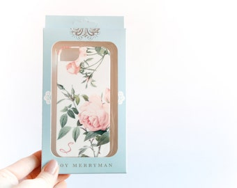 iPhone SE or 5S Case, S Monogram, Pink Roses - Ready to Ship