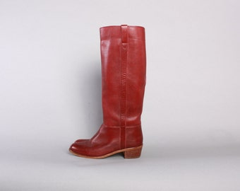 70s Tall BOHO BOOTS / 1970s BURGUNDY Sienna Leather Knee High Boots 6 1/2