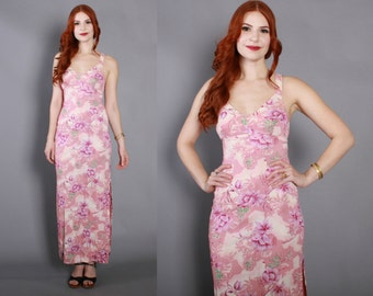 70s PINK Floral MAXI DRESS / 1970s Backless Tropical Long Dress