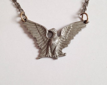 Vintage Silver Tone Metal Eagle Necklace