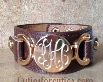 Personalized Leather Monogram Cuff Bracelet-ENGRAVED