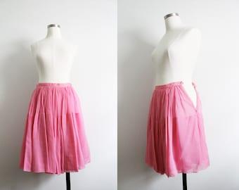 "1950s ""House of Gold"" Pink Chiffon Skirt"