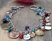 Mixed metal charm bracelet bronze silver copper gemstone charm bracelet unique charm bracelet metal charm bracelet birthday gift ideas