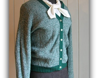 Vintage 50's to 60's Green Boucle Knit Cardigan Sweater