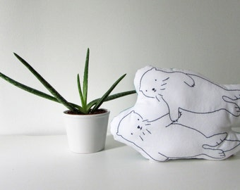 Otters Holding Hands - Significant Otter - Hand Embroidered Shaped Pillow