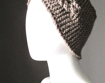 TWO IN ONE, Hand Knit Headband, knit scarf,  Winter Headband, Ear Warmer,  Cable Knit Headband for Women, Taupe