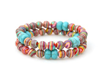 Turquoise Bracelets, Rainbow Bracelets, Set of Two, Stackable, Southwestern Style, Country Chic Flare by Mei Faith