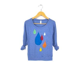 Raindrops - Hand Stenciled Heather Deep Scoop Neck Lightweight Women's Sweatshirt in Blue and Multicolored Rainbow - S M L Q