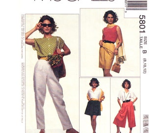 Skirt Pants Culottes Pattern McCalls 5801 Slim Skirt Skort Pull On Trousers Side Seam Pockets Womens Sewing Pattern Size 8 10 12 UNCUT