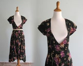 Vintage 1980s Dress - Sexy Spanish Floral Dress with Deep V Neck - 80s Vedra of Ibiza Dress S