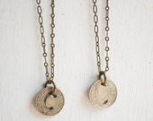 Vintage BUS TOKEN Necklace Bus Token Los Angeles, California or Little Rock, Arkansas Rustic 1950's