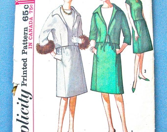 """Vintage Early 1960s Simplicity 5151 Misses' Suit Sewing Pattern   Bust  34"""""""