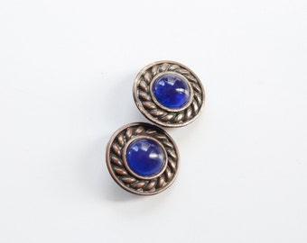 1980s Medallion Pierced Earrings