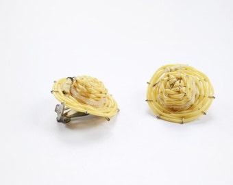 1950s/1960s Straw Sunhat Clip On Earrings