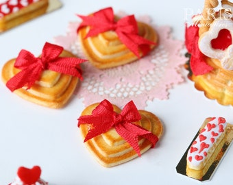Trio of Valentine's Cookies Tied with Silk Ribbon - 1/12 scale miniature food