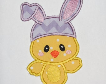 """Embroidered Iron On Applique-""""Lavender Easter Chick Bunny""""  RTS"""