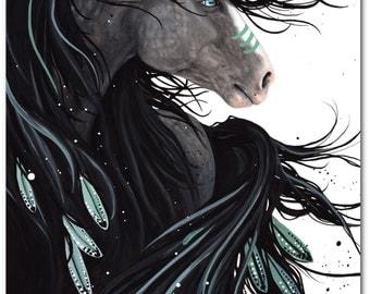 Majestic Horses - Dreams War Paint Spirit Feathers - Fine ArT Prints by Bihrle mm138