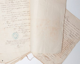 French antique handwritten notary act from 1849 (9 pages)