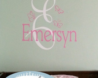 Butterfly Monogram and Name Vinyl Wall Decal