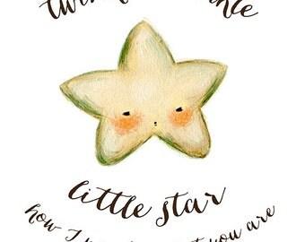Twinkle Twinkle Little Star Print 8x10 - Children's Art, Nursery Art, Star, Kids Decor, Quote, Night, Bedtime, Baby, Cute, Kids, Pink, Blue