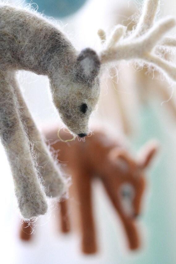 Baby Mobile, Deer Decor, Eco Friendly 100% Wool Deer made to order,