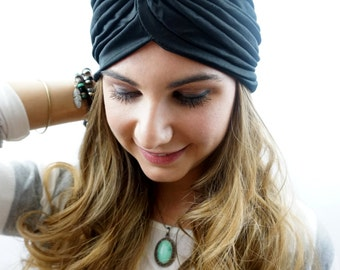 Black Turban Hat Womens Turban Cap Cloche Full Head Turban Stretch Turban Hat Pleated Design Womens Hat - CHOOSE Your Color