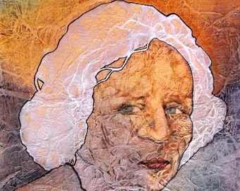 Watercolor Painting on Tissue Portrait Zen Inspired Lynne French
