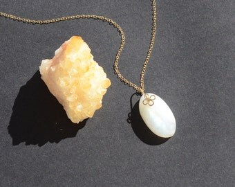 Rainbow Moonstone 14k gold filled Necklace - hand forged bail - 18 inch - Pendant - Innocent