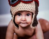 Baby Boy Aviator Hat, Infant Boy Aviator Hat, Crochet Baby Aviator Hat, Crochet Baby Hats, Infant Hats, Baby Hats