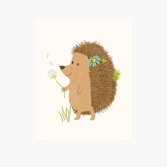 hedgehog - woodland art print 8x10 - nursery art for children